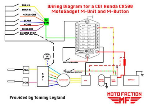 motogadget m unit and m button wiring schematic for a honda cx500 with cdi