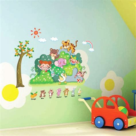 Wallpaper With Animals For Rooms - zoo animal wall sticker for kindergarten child room