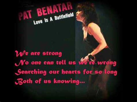pat benatar is a battlefield lyrics