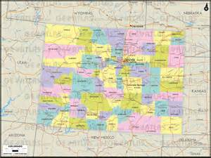 Colorado Counties Map with Cities