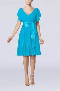 cornflower blue modest a line zip up knee length pleated With a line dresses for wedding guests