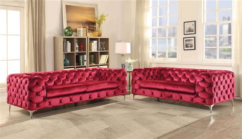 2 Piece Adam Sofa Set Red Velvet Usa Warehouse Furniture
