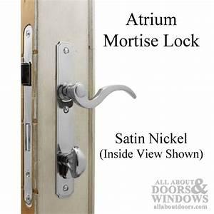 satin nickel mortise lock hardware set for atrium doors With atrium door lock