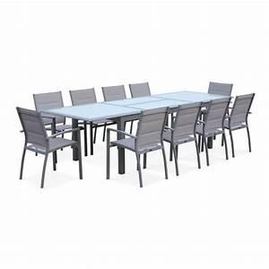 Salon De Jardin Gris Clair : salon de jardin table extensible philadelphie gris clair table en aluminium 200 300cm 8 ~ Teatrodelosmanantiales.com Idées de Décoration
