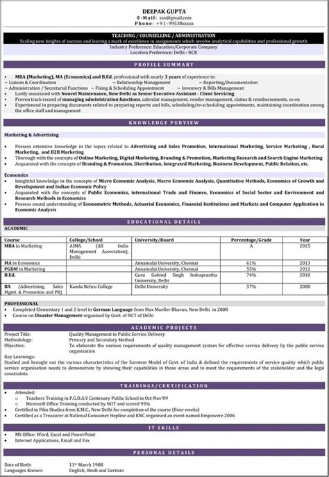 resume format for lecturer job in india resume formats for teachers teacher resume sles