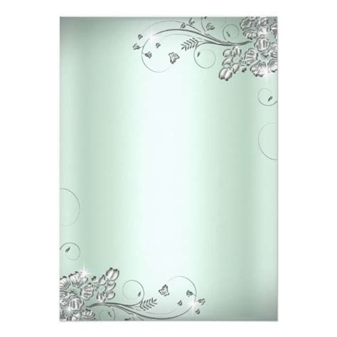 mint green silver sparkle flower sweet  invitation