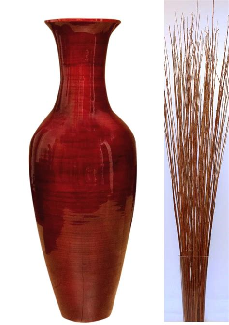 bamboo floor vase greenfloralcrafts 47 quot classic mahogany bamboo floor 1459