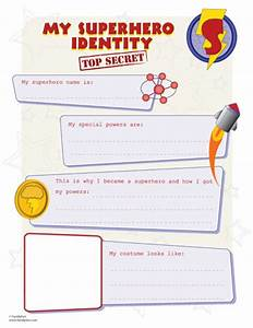 SH identity printout for making your own superhero. great ...