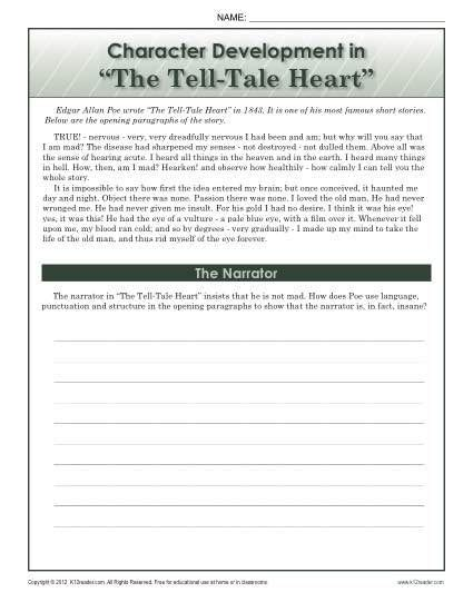 character development in the tell tale heart teach
