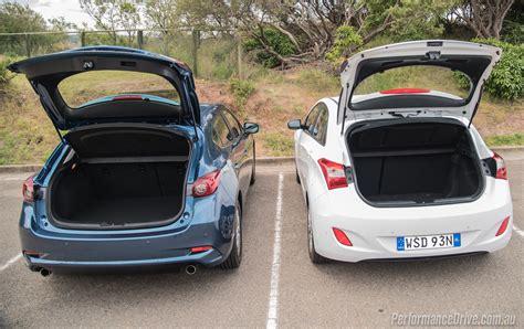 Hatchback Cargo Space Comparison by 2017 Mazda3 Vs Hyundai I30 Small Car Comparison