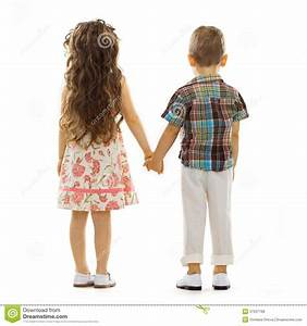 Back View Of Little Kids Holding Hands Royalty Free Stock ...