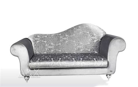 silver color fabric regency style chaise