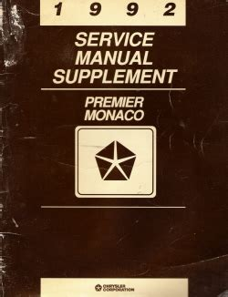 service and repair manuals 1992 eagle premier free book repair manuals 1992 eagle premier dodge monaco service manual supplement