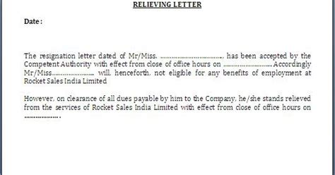 relieving letter format  employee