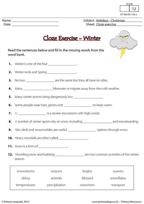 cloze exercise winter primaryleap co uk