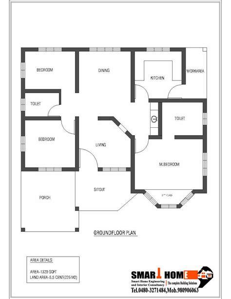 one storey house plans single storey kerala house plan 1320 sq feet