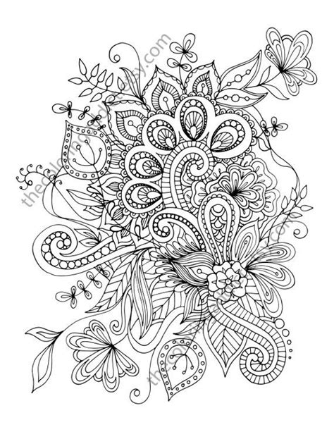 henna flower adult coloring sheet instant coloring