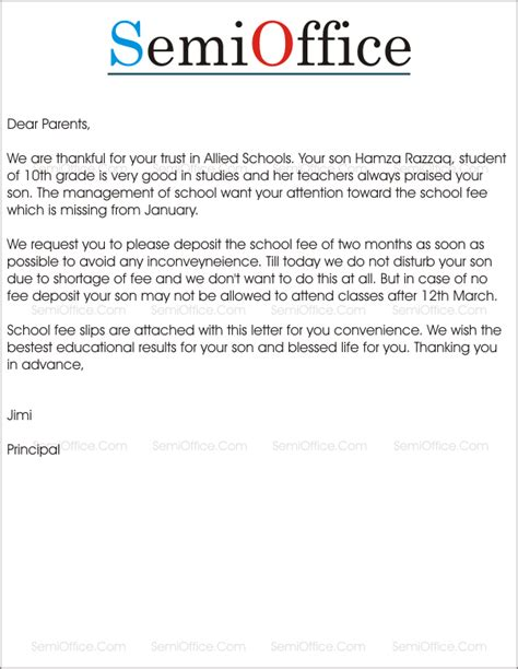 sample letter  parents  school fees submission
