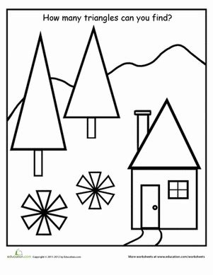 find the shapes triangles worksheet education 634 | find shapes triangles kindergarten