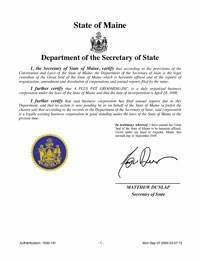 Maine Certificate of Good Standing - Certificate of ...