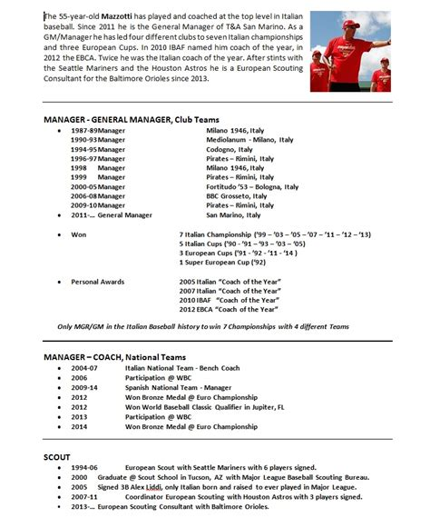 baseball coaching resume exles