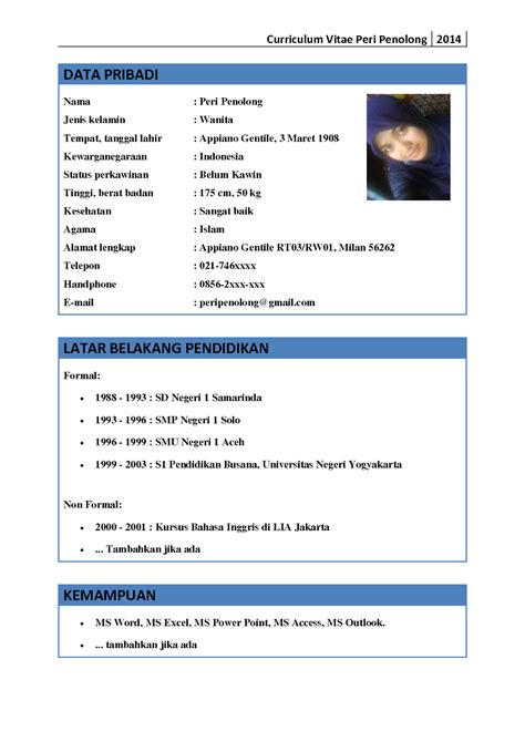 contoh cv bahasa indonesia cv nabila
