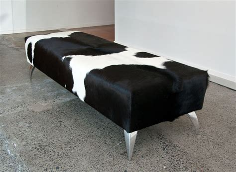 black and white ottoman large rectangle black and white cowhide ottoman