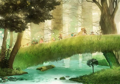 Animal Scenery Wallpaper - anime forest backgrounds wallpaper cave