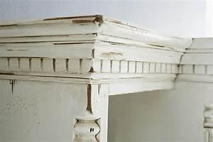 Massivholz Highboard Antik Creme Vintage Vitrinenschrank
