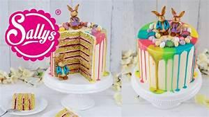 Drip Cake Ostertorte mit bunten Regenbogenfarben und Schokoladen Häschen YouTube