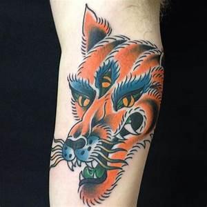 Arm New School Wolf Tattoo by Sakura Tattoos