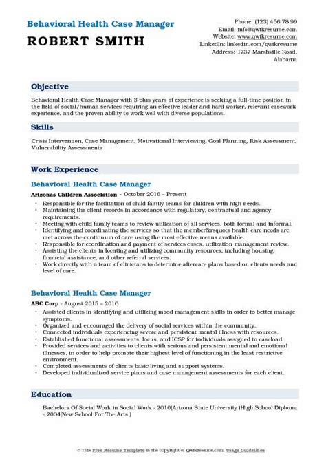 behavioral health case manager resume sles qwikresume