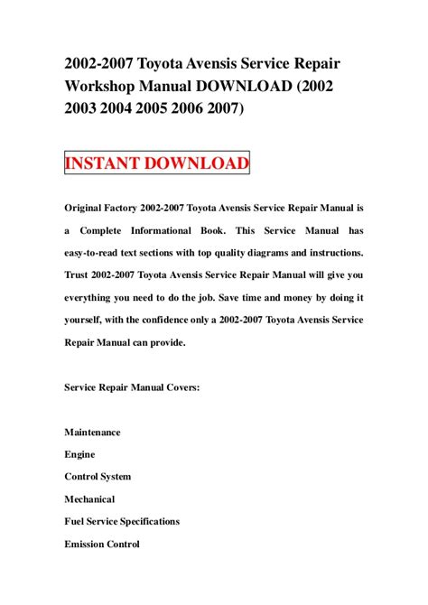 service repair manual free download 2004 toyota celica on board diagnostic system 2002 2007 toyota avensis service repair workshop manual download 200