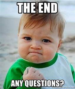 THE END ANY QUESTIONS? - Victory Baby | Meme Generator