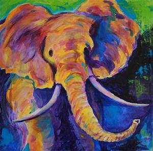Elephant Painting by Linda Tilden