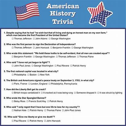 Trivia Printable History Fun American Questions Answers