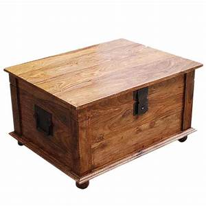 Sierra nevada solid wood coffee table storage trunk for Wood trunk coffee table