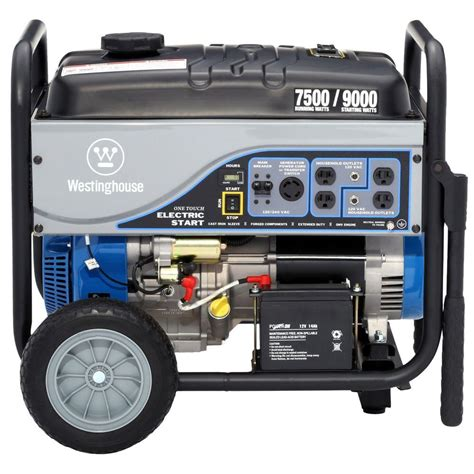 electrical watt westinghouse 7 500 watt gasoline powered electric start portable generator with battery wh7500e