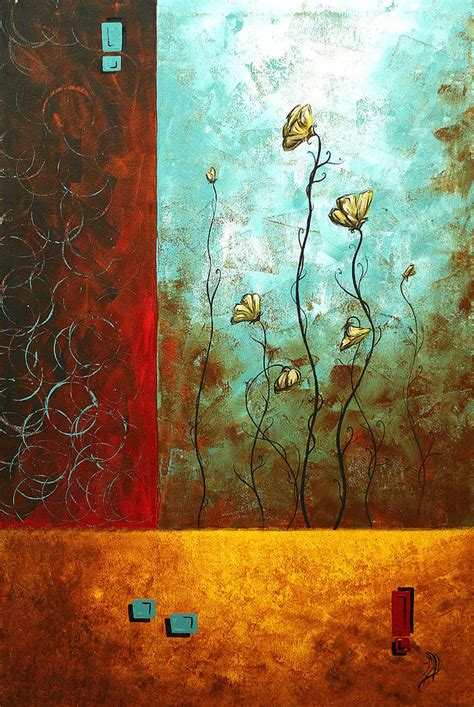 Abstract Art Original Poppy Flower Painting Subtle Changes