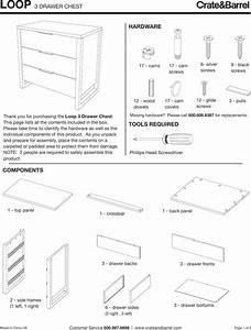 Crate Barrel 624 Loop Three Drawer Chest Assembly