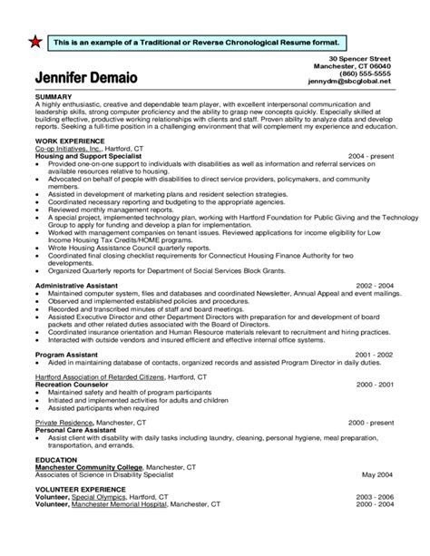 traditional or chronological resume format free