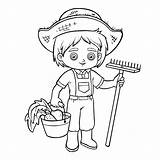Farmer Coloring Boy Rake Drawing Bucket Vector Harvest Illustration Illustrations Agriculture Barn sketch template