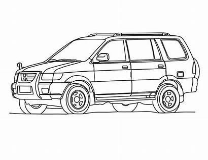 Coloring Cars Pages Suv Drawing Template Colouring