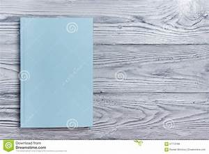 Blank Book Cover On Textured Wood Background. Copy Space ...