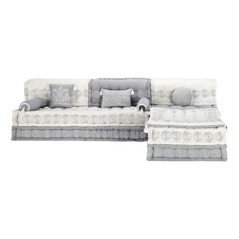 banquette d angle modulable 6 places en coton grise et blanche goa maisons du monde