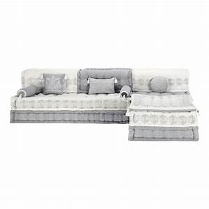 Maison Du Monde Canapé D Angle : banquette d 39 angle modulable 6 places en coton grise et ~ Melissatoandfro.com Idées de Décoration