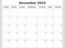 November 2019 Calendar calendar month printable