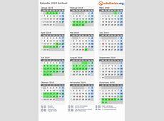 Kalender 2019 + Ferien Sachsen, Feiertage