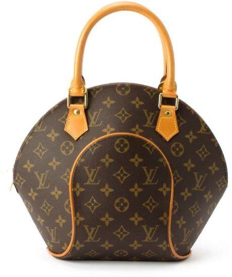 louis vuitton brown monogram canvas ellipse pm vintage top handle bag  brown lyst