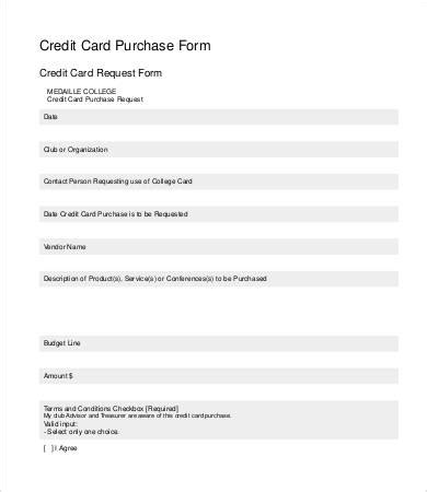 credit card form template   sample